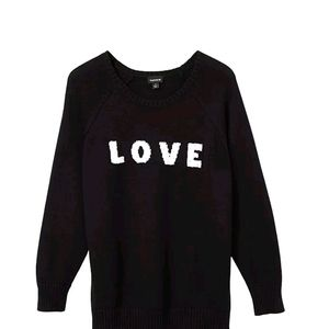 [NWT] LOVE EMBELLISHED BLACK PULLOVER SWEATER Sz